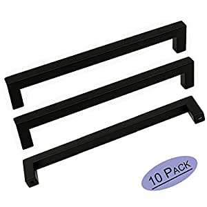10pack goldenwarm black square bar cabinet pull drawer handle stainless steel modern hardware. Black Bedroom Furniture Sets. Home Design Ideas