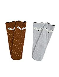 Aisprts Adorable Fox Cartoon Knee High Girls Boys Kids Cotton Socks 2 Pack Age 0-6Y
