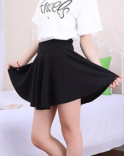 Patineuse Taille vase Jupe Court Jupe Elastique Femmes Noir Mini Grande Plisse XfwZqfO7