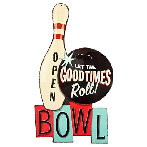 (Open Road Brands Vintage Retro Metal Tin Signs - Goodtimes Roll Bowl Embossed Tin Sign - Great for Man Caves, Diner Art, Wall Art, Home Decor and Much More)