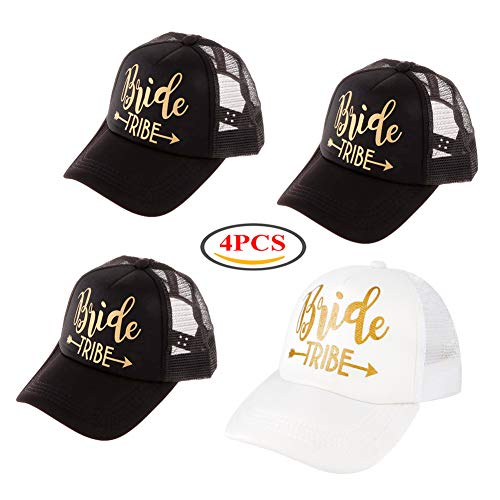 4Pack Wedding Bride Tribe Caps Hat Baseball Arrow Mesh Cap Party Gift, All-around Wedding Set Bachelorette Party Bridal Wedding Shower Mesh Caps Adjustable with 1Pack Flash Tattoos Black White
