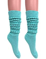 Slouch Socks Women and Men Extra Tall Heavy Cotton Socks Made in USA Size 9 to 11