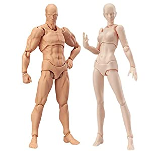 2 Pcs/Set Action Figure Model, Tulas Human Mannequin Man /Woman Action Figure Equitment with Accessories Kit,Suitable for Sketching, Painting, Drawing, Artist, Kids, Cartoon Figures Action