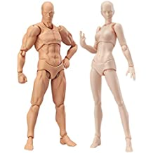 StarALL 2 Pcs in One Set Action Figure Drawing Model Body Chan & Kun Mannequin Doll Version 2.0 Movebale Action Figure Model for Sketching Painting Drawing Toy Gift