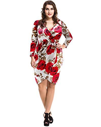 Pinup Fashion Women's Plus Size Deep V Neck Bodycon Wrap Dress with Front Slit White 16W