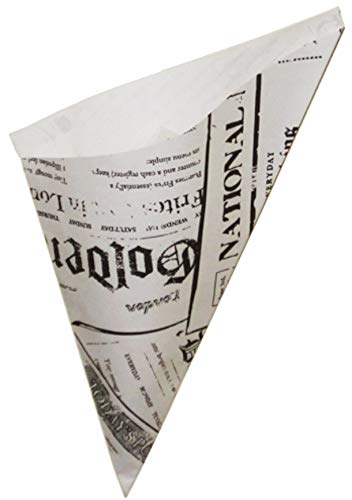 (Paper Food Cones with English Newspaper Design Holds 8.5-ounces (Package of 100))