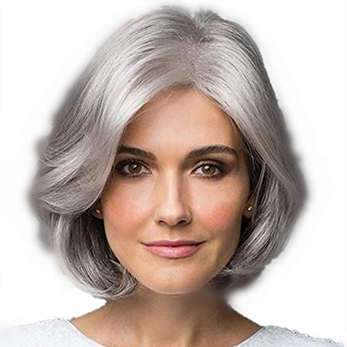 Beaty Older Women Short Curly Wavy Synthetic Hair High Temperatuer Synthetic Natural As Real Hair Wigs for Daily Use with Free Wig Cap