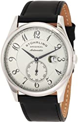 """Stuhrling Original Men's 171B.331554 """"Classic Cuvette"""" Stainless Steel Automatic Watch with Leather Band"""