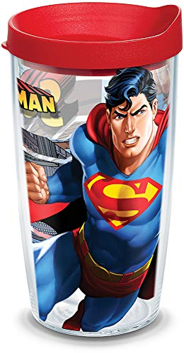 Tervis 1132638 Superman Tumbler with Wrap and Red Lid 16oz, Clear