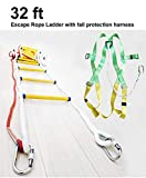 Emergency Escape Rope Ladder Kit 32 ft Flame Resistant Fire Safety Ladders with Fall Protection Harness with Safety Cord – Fast Deploy & Simple to Use -Reusable