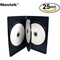 25 Pack Maxtek Standard 14mm Black Quad 4 Disc DVD Cases with Double Sided Flip Tray and Outter Clear Sleeve