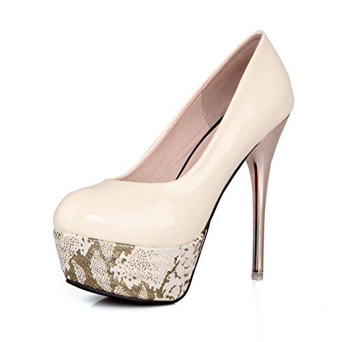 Chiuso Donne Allhqfashion Estraibili Punta Vernice Sulla Solido Beige Pompe shoes tacchi Rotondo 0xOnZa0