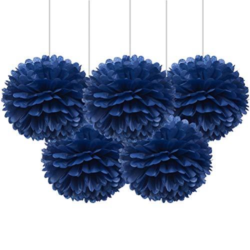 "16"" Royal Blue Tissue Pom Poms, DIY Paper Flower Hanging Party Decorations, Pack of 5"