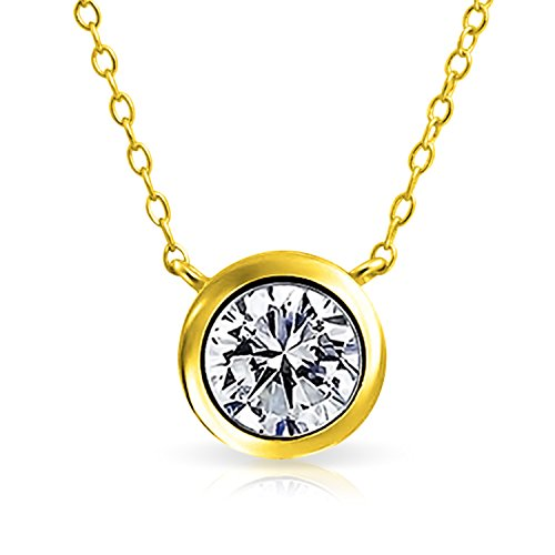 Bling Jewelry 1 Ctw Solitaire Round Cubic Zirconia CZ Bezel Set Slide Pendant Necklace for Women 14K Gold Plated Sterling Silver