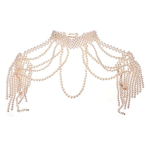 Chunky Simulated Pearl Bib Necklace for Women Fashion Collares Choker Statement Body Necklace (White)