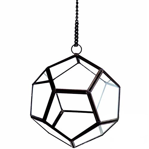 Geometric Glass Terrarium, Geo Ball on Chain, Black Frame 6