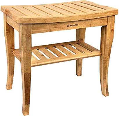 Phenomenal Greenco Waterproof Bamboo Shower Bench With Shelf Wooden Spa Bath Stool Indoor And Outdoor Theyellowbook Wood Chair Design Ideas Theyellowbookinfo