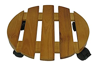 Wood Plant Caddy. Combine Heavy Duty Rolling Stand With Decorative Flower Pot Or Planter To Decorate Your Garden, Patio, Home, Deck & Poolside. This Wooden Wheeled Dolly Is For Outdoor & Indoor Decor