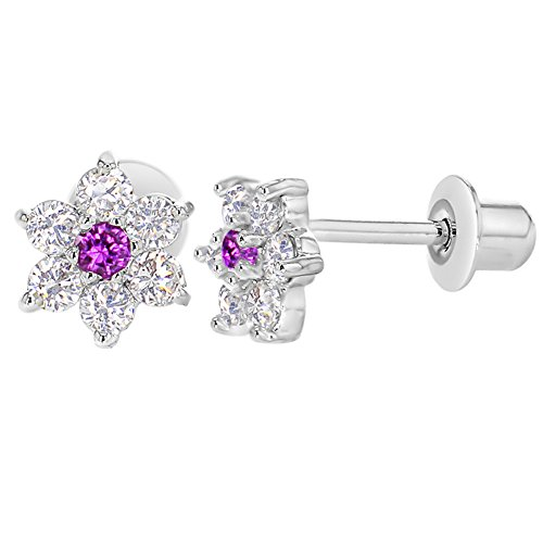 Rhodium Plated Clear and Pink Crystal Flower Baby Girls Kids (Flower Screw Back Earrings)