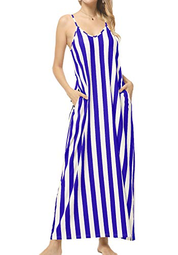 Women Loose Swing Floor Length Striped Pockets Long Maxi Cami Slip Dress Blue M