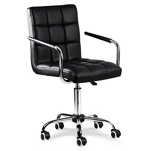 Yaheetech Desk Chair - Office Chair White with Arms/Wheels for Teens/Students Swivel Faux Leather Home Computer Black