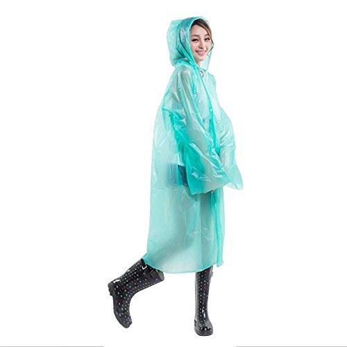 Cuitan Portable Adulte Vtements de pluie, (Taille: 145 * 70cm) EVA Translucide Poncho Pluie avec Capuche et Manches Manteau de Pluie Impermable  capuche Veste de pluie Cape de Pluie pour Extrieur Vert