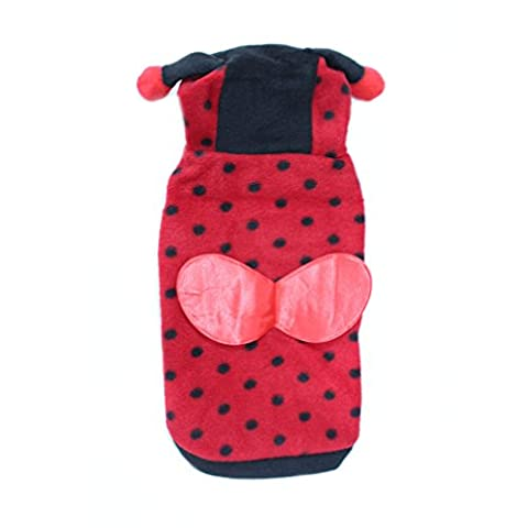 Pet Polka Dotted Cute Animal Design Lady Bug Dog Clothes Dog Costumes for Cats Small Dogs (Large(chest 15