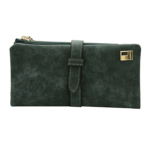 ETIAL Womens Nubuck Leather Suede Bifold Clutch Wallet Blackish (Leather Suede Wallet)