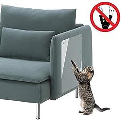 "PetIsay Cat Couch Guard(Set of 4), Cat Scratch Deterrent Tape, Vinyl Anti Cat Scratching Furniture Protectors(Clear, 18"" L X 8"" W)"