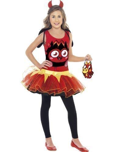 Girls Moshi Monsters with Bag Pink Poppet Red Diavlo Orange Katsuma Halloween Book Day Fancy Dress Costume Outfit 4-12 Years (7-9 Years -