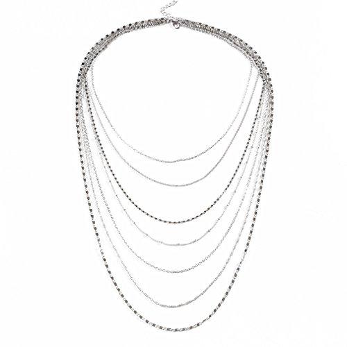 ELEARD Women Multi Chain Layered Necklace Waterfall Multi Strand Jewel Chain Tassel Necklace (Silver)