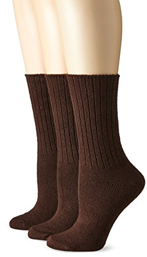 Brown Womens Socks (No Nonsense Women's Essential Boot Sock 3-Pack, Espresso, One Size)
