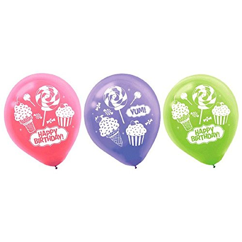 Amscan Candy Land Birthday Party Sweet Shop Printed Balloons Decorations, Multicolor, (Candyland Balloons)