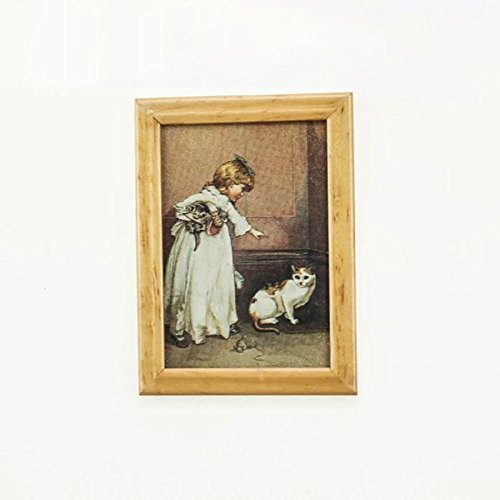 AkoMatial Dollhouse Furniture Accessories, Miniature Flower Child Framed Wall Oil Painting Decor for 1/12 1/6 Dollhouse – Child