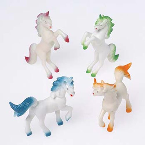 Dozen Assorted 4 Inch Plastic Toy Unicorns US Toy