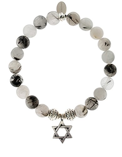 EvaDane 1_BRQ_S_T_STD_7 Natural Semi Precious Rutilated Quartz Gemstone Tibetan Bead Star of David Charm Stretch Bracelet, Black (Std Bead)