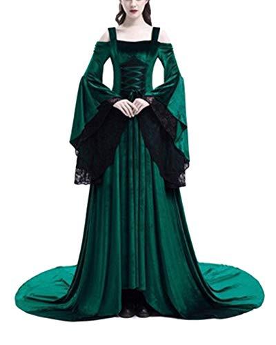 Donne Il Pavimento Dress Abito Medievale Campana Verde Cosplay Maxi Abiti Lavando Fancy Costume Fionda qUpVGSMz
