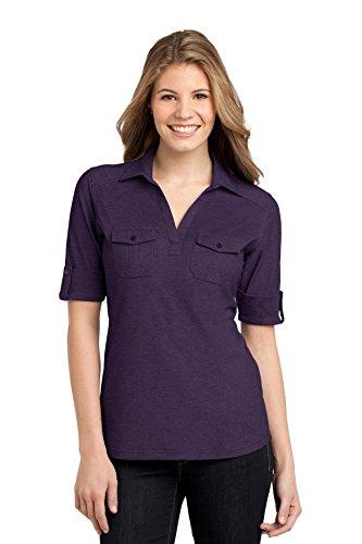 (Port Authority Women's Oxford Pique Double Pocket XS Purple/Dress Blue Navy)
