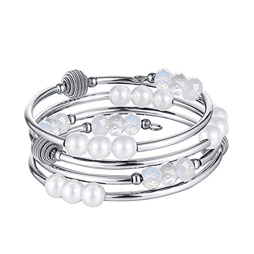 Pearl&Club Layered Wrap Beaded Crystal Bracelet - Fashion Jewelry Agate Bracelet Birthday Gifts for Women (White) (Pearl Beaded Wrap Bracelet)