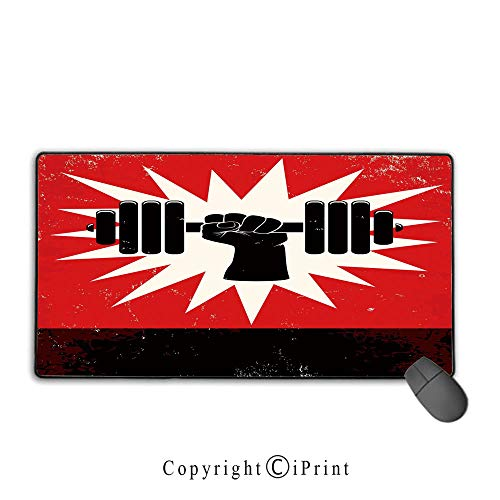 - Stitched Edge Mouse pad,Fitness,Grunge Display of Hand Lifting Dumbbell Explosion Effect Workout Vintage Style,Red Black White, Non-Slip Rubber Base,15.8