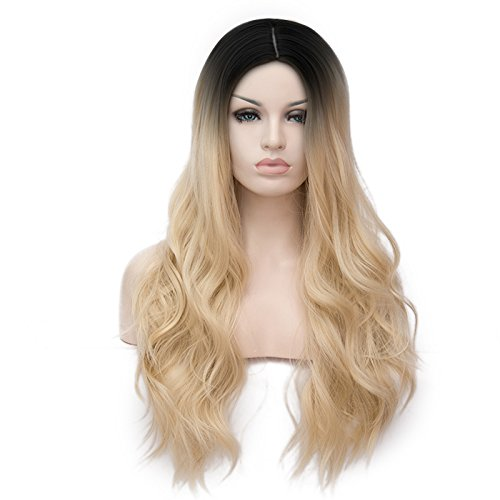 Netgo Ombre Blonde Synthetic Wigs For Women Long Wavy 2 Tones Wigs with Dark Roots Middle Parting None Lace Wig Heat Resistant 26