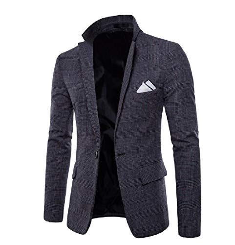 Business Mens Casual AngelSpace Jacket Grey Oversized Dark Plaid Blazer Premium 6txnwvnqT
