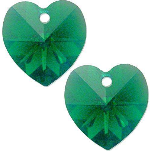 2 Emerald AB Made With Swarovski Crystal Heart Charm 6202 14mm -