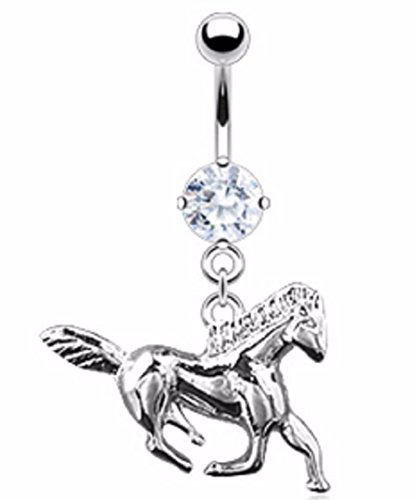 Body Accentz™ Belly Button Ring Navel Solitaire Horse Body Jewelry 14 Gauge ()