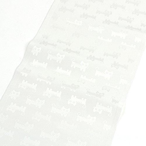 洗える地紋半衿 白半襟 ねこ