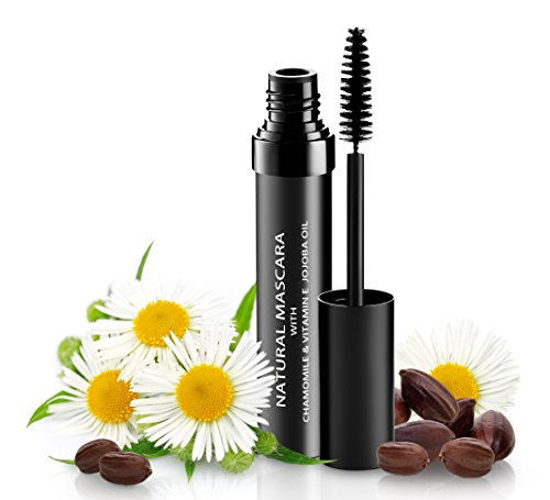 Natural Organic Mascara | 100% Natural Enriched With Chamomile, Vitamin E, Jojoba Oil | Vegan & Gluten Free, Nourishes and Conditions | Cruelty Free Hypoallergenic Safe For Sensitive Eyes (Ecco Bella Black Mascara)