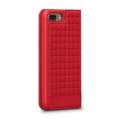 (Isa Quilted Wallet Leather Case for iPhone 8 Plus/7 Plus (Red))