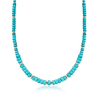 Ross-Simons Graduated Blue Howlite Bead Necklace With 14kt Yellow Gold by Ross-Simons
