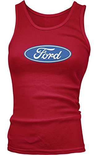 Tough Logo Tee (Amdesco Junior's Ford Logo, Officially Licensed Design Tank Top, Red Medium)