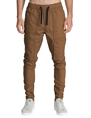 Italy Morn Men Chino Cargo Jogger Pants Casual Sweatpants Twill Khakis Slim fit L Camel